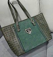 Большая женская сумка зеленого цвета Philipp Ple... Материал эко кожа и эко нубук.