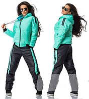 Зимовий спортивний костюм жіночий з лаковим блиском