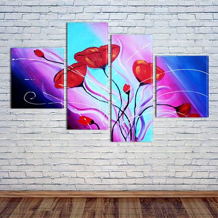 """Модульная картина """"Красные цветы"""", фото 2"""