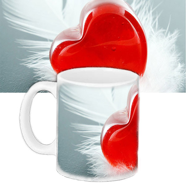 Кружка подарок с принтом красное сердце