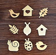 Набор мини-заготовок, Листики и птички, 10,5*10,5 см, 9 шт, Knorr Prandell