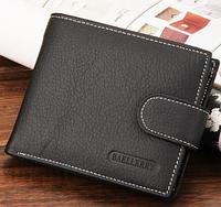 Стильный черный мужской кожаный кошелек бумажник  Baellerry на кнопке