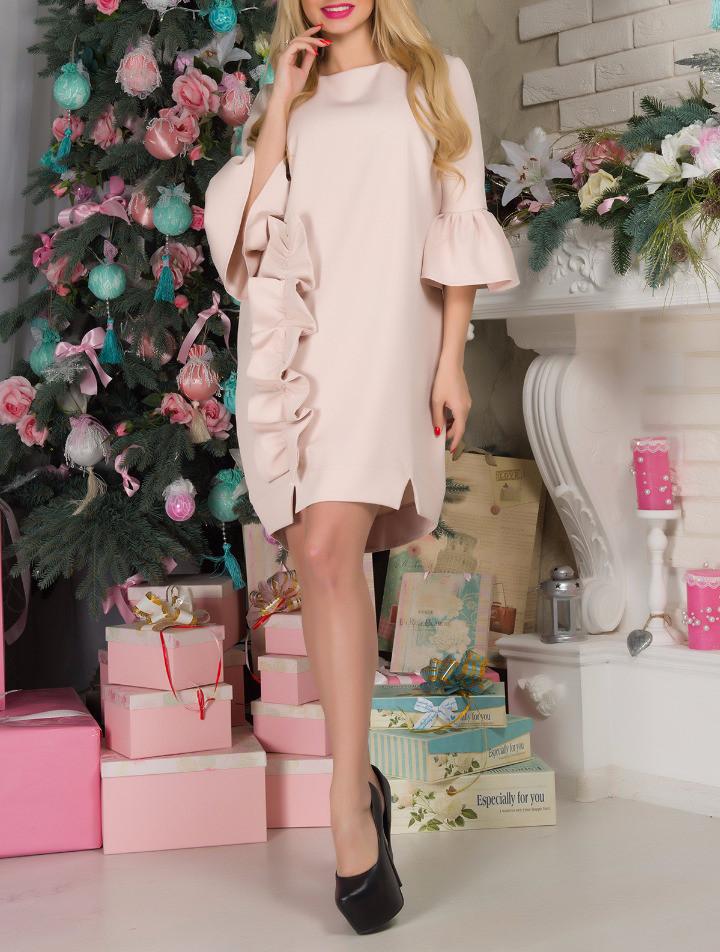 """Красивое женское платье """"Беж Варьете"""" до 50-52 размера"""