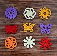 Набор мини-фигурок из фетра, Бабочки и цветочки, 10,5*10,5 см, 9 шт, Knorr Prandell