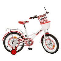 """Детский двухколесный велосипед PROFI UKRAINE 18"""" WHITE (P1839 UK-1) с корзинкой"""