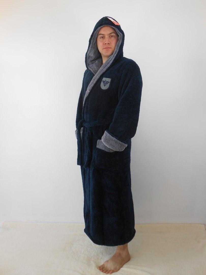 Халат мужской махровый синий с серым