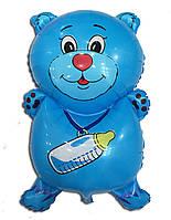 Фольгированный воздушный шарик Мишка с соской голубой 72 х 44 см.
