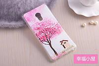 Силиконовый чехол для Meizu pro 6 с картинкой розовое дерево