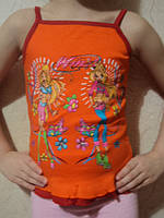Топик на бретельках, оранжевым цветом, от 1 до 4 лет.
