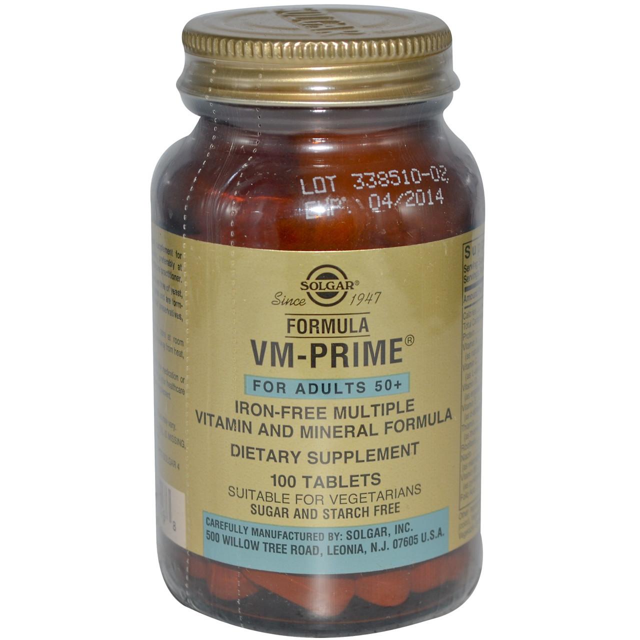 Комплексные витамины Solgar, Формула VM-Prime, старше 50 лет, 100 таблеток