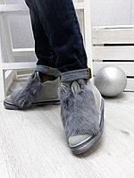 Зимние замшевые ботиночки на меху с ушками и натуральным мехом кролика. 36 39 40