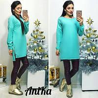 Стильное женское платье-туника, цвет мята