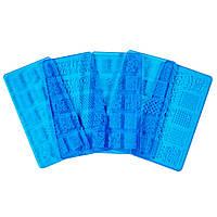 Пластина для стемпинга пластиковая, синяя 12 * 6 см, крупные рисунки