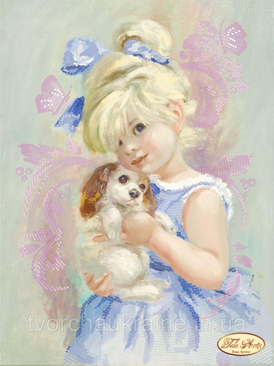 Схема для вышивки бисером Девочка с собачкой
