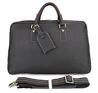 Кожаная дорожная сумка TIDING BAG 7156Q коричневая