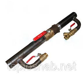 Байпас стальной для отопления  длинный ду 40 с краном