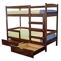 Кровать двухъярусная Мира из натурального дерева 90х200 см с ящиками