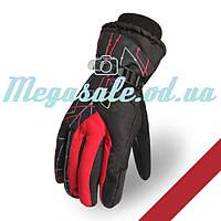 Мужские горнолыжные перчатки Kineed (перчатки лыжные): красный, размер M-L/L-XL
