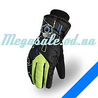 Мужские горнолыжные перчатки Kineed (перчатки лыжные): салатовый, размер M-L/L-XL