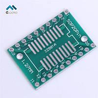 Адаптер макетная плата PCB SO20-SOP20-SOIC20 (шаг 1,27mm) - >  DIP20 (шаг 2,54 mm)