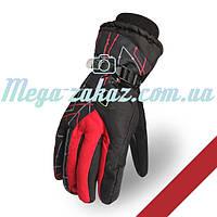 Мужские горнолыжные перчатки Kineed (перчатки лыжные): красный, размер M-L, L-XL
