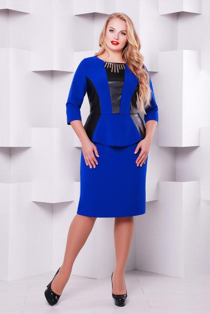 Платье больших размеров с баской Елена электрик - DS Moda - женская одежда от производителя в Харькове