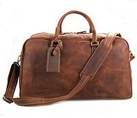 Кожаная дорожная сумка TIDING BAG 7156LR рыжая