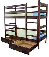 Кровать двухъярусная Санта из натурального дерева 80х200 см с ящиками
