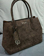 Большая женская сумка темно-коричневого цвета из эко нубука Christian Di... Материал эко нубук. Размер 38х26