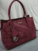 Большая женская сумка бордового цвета из эко нубука Christian Di... Материал эко нубук. Размер 38х26