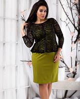 Вечернее платье с баской гипюром нарядное большого размера