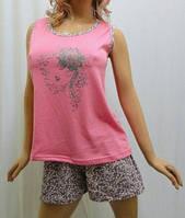 Пижама шорты с майкой хлопок, Харьков 42-54 размеры розовый