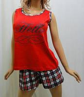 Пижама шорты с майкой хлопок, Харьков 42-54 размеры красный в клетку