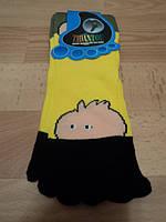 """Женские носки с пальчиками, желтые цветом """" Мордочка """""""