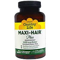 Maxi-Hair Plus, Country Life, 120 растительных капсул