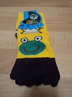 """Женские носки с пальчиками, желтые цветом """" Лягушка """""""