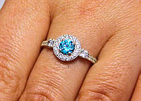 Кольцо серебро 925 проба 17 размер АРТ1186 Голубой, фото 1