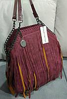Женская сумка из эко нубука бордового цвета Stella McCartn.. Материал эко нубук. Размер 33х34