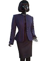 Костюм шерстяной в фиолетовую клетку с чёрным платьем Арт.2002