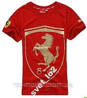 Мужская футболка Puma Ferrari, красная с золотистым принтом р-р XL