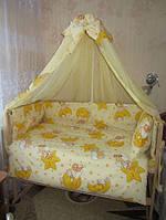 Постельное белье с балдахином! 8 предметов. Цвет: желтый. Мишка на луне
