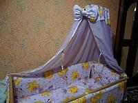 Постельное белье с балдахином! 8 предметов. Цвет: фиолетовый. Мишка на луне