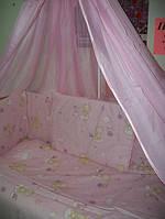 Постельное белье с балдахином! 8 предметов. Цвет: розовый. Облако и мишка