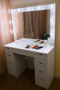 Стол визажиста, гримерный стол с подсветкой, туалетный столик, стол для парикмахера