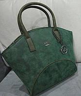 Женская сумка темно-зеленого цвета их эко нубука Gue... Материал эко нубук. Размер 38х27