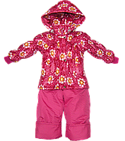 Детский весенний, осенний комбинезон р. 92 штаны на шлейках и куртка на флисе и холлофайбере Д06
