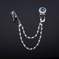 """Брошь зажим для кардиганов декор Цветок 2х1,7см синий кристалл и стразы цвет """"серебро"""" цепь 8см"""