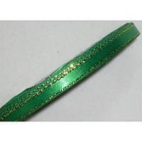 Лента атласная с люрексом 876 зелёная 6 мм