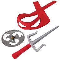 Набор игрушечного звукового оружия Черепашки-ниндзя Рафаэль (кинжалы-саи, сюрикен, бандана), TMNT