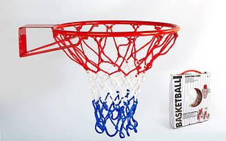 Кольцо баскетбольное (d кольца 46,5 см, d трубы 12мм, в ком.кольцометалл, сетка нейлон,болты)